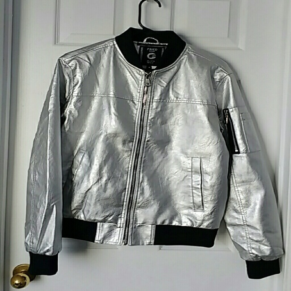 boy cute cheap fresh styles Fried Denim Silver Faux Leather Jacket, Large